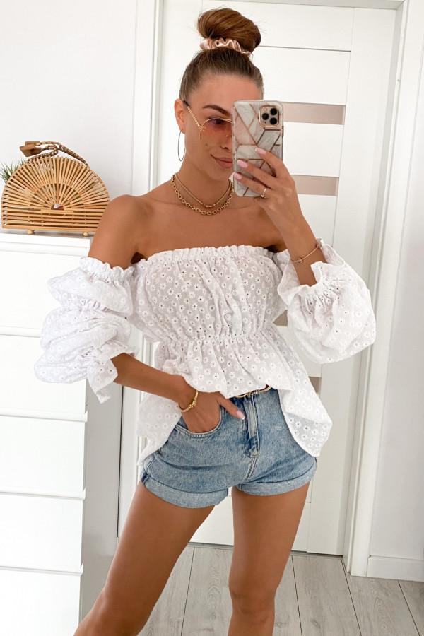 Biała haftowana bluzka hiszpanka Salma