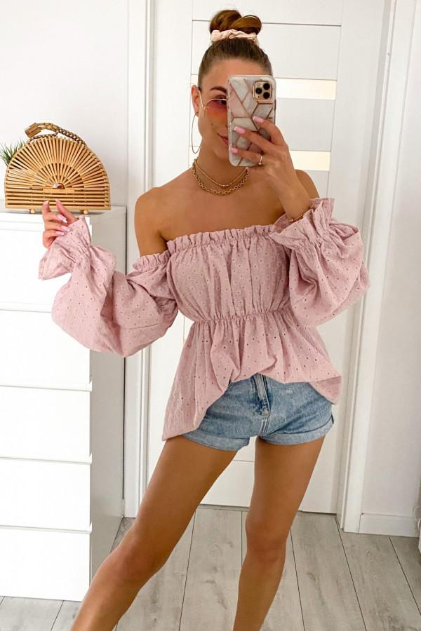 Jasnoróżowa haftowana bluzka hiszpanka Salma