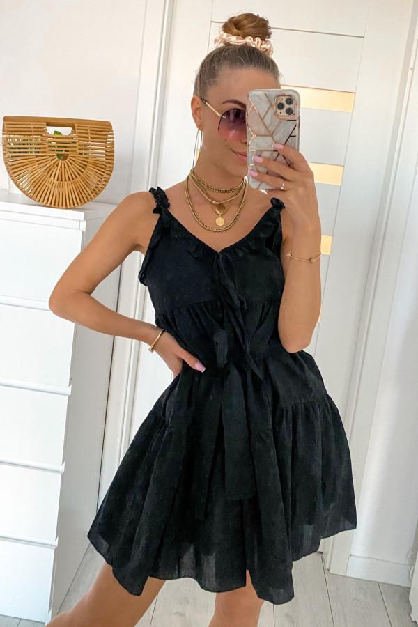 Czarna sukienka rozkloszowana z falbankami Blanca
