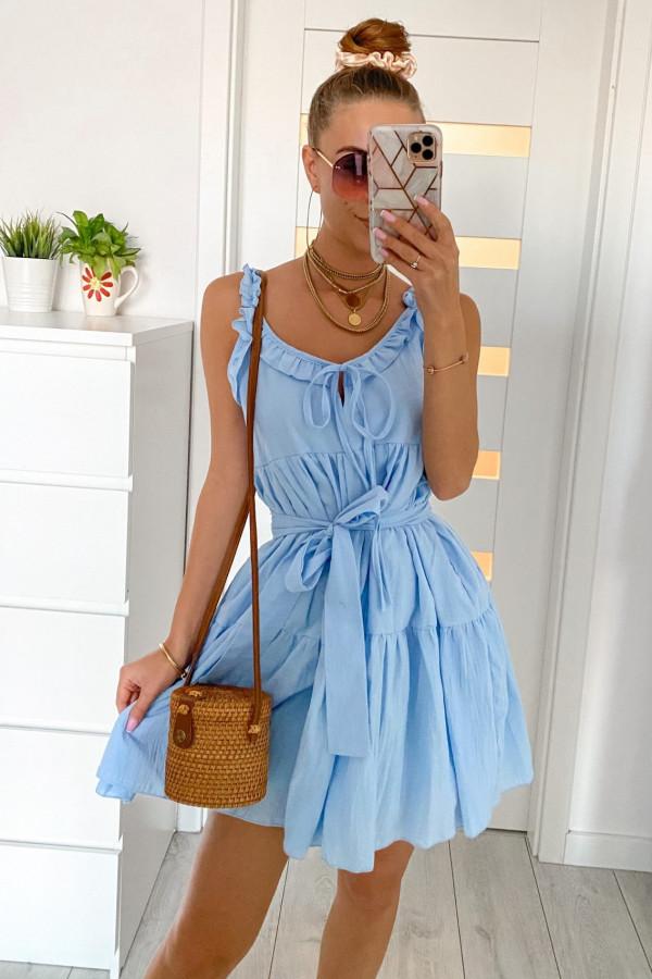 Jasnoniebieska sukienka rozkloszowana z falbankami Blanca