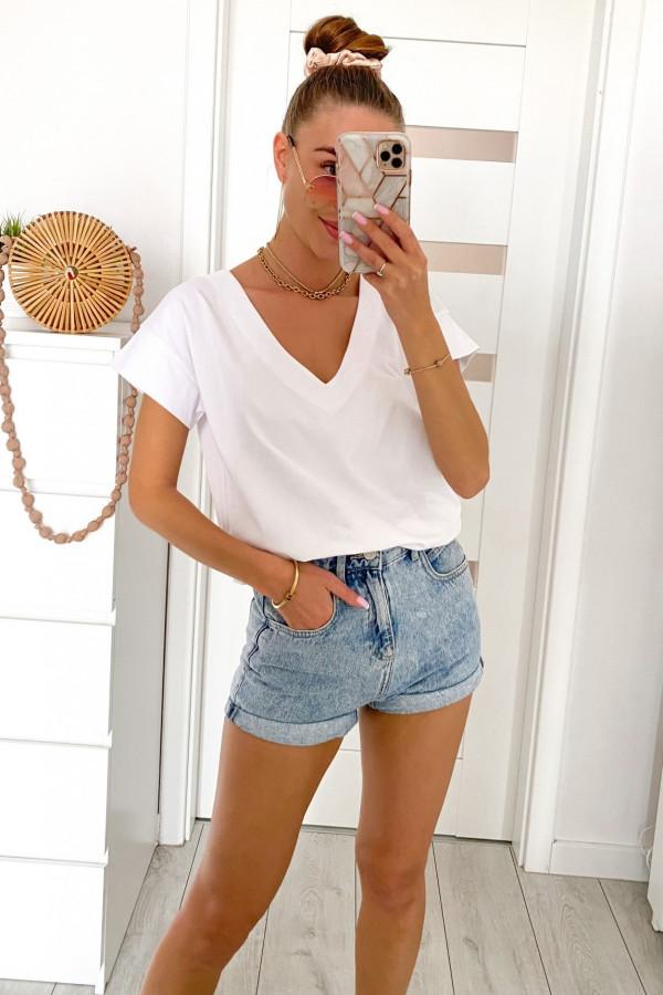 Biały elegancki t-shirt V-Neck Arielle