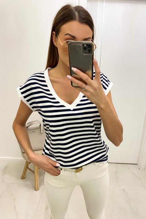 Granatowy t-shirt V-Neck w paski Jeanne