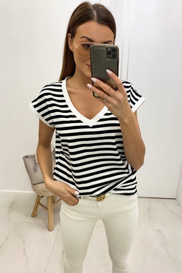 Czarny t-shirt V-Neck w paski Jeanne