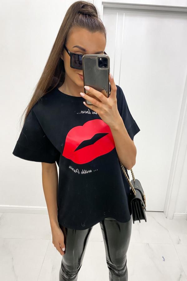Czarny luźny t-shirt z nadrukiem Lips