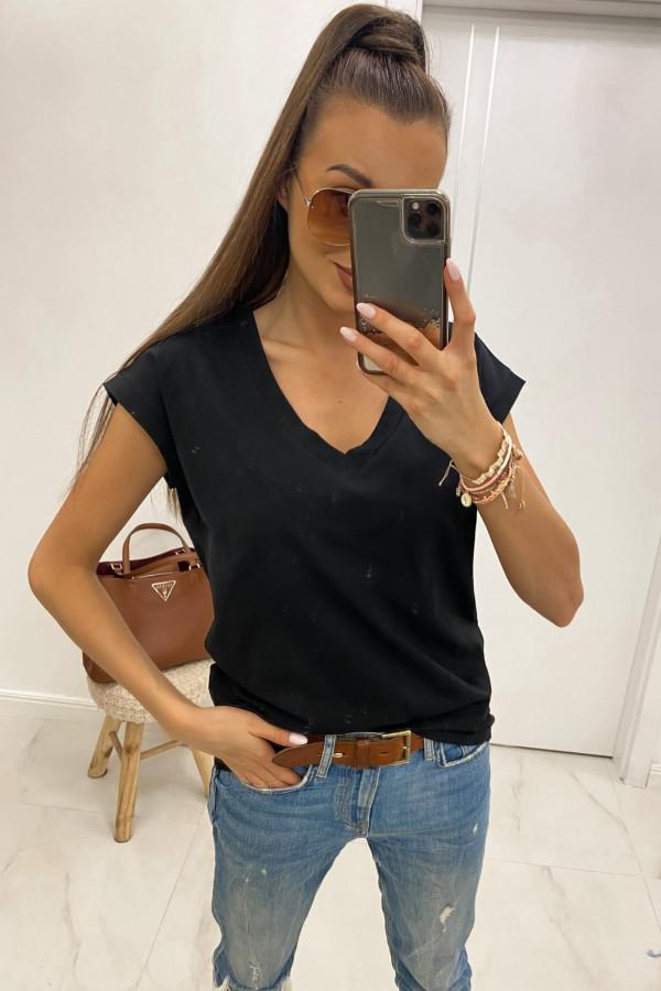 Czarny luźny t-shirt V-Neck Julie