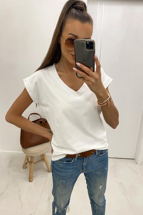 Biały luźny t-shirt V-Neck Julie