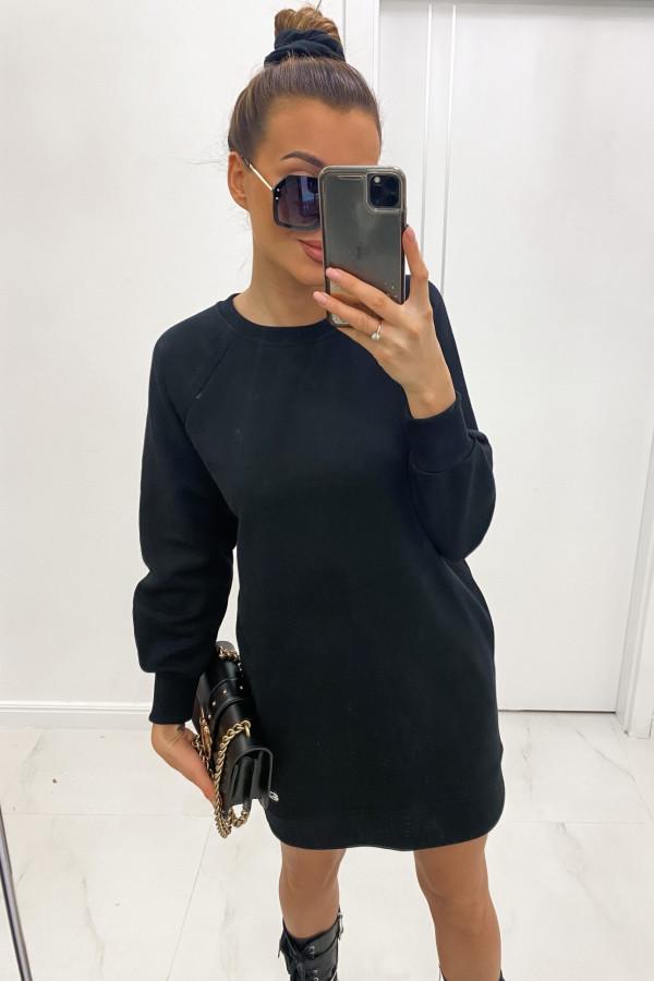 Czarna sukienka bluza z długim rękawem Laurette