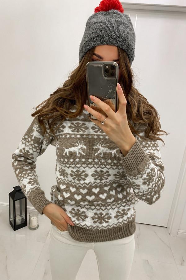 Świąteczny beżowy sweter Snowflakes