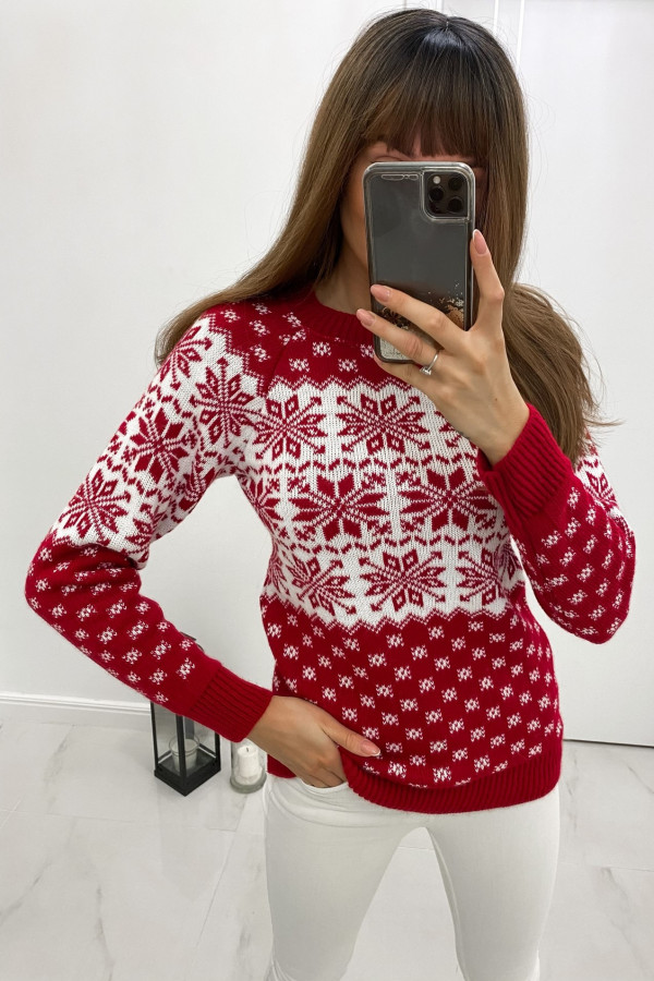 Czerwony świąteczny sweter Snow