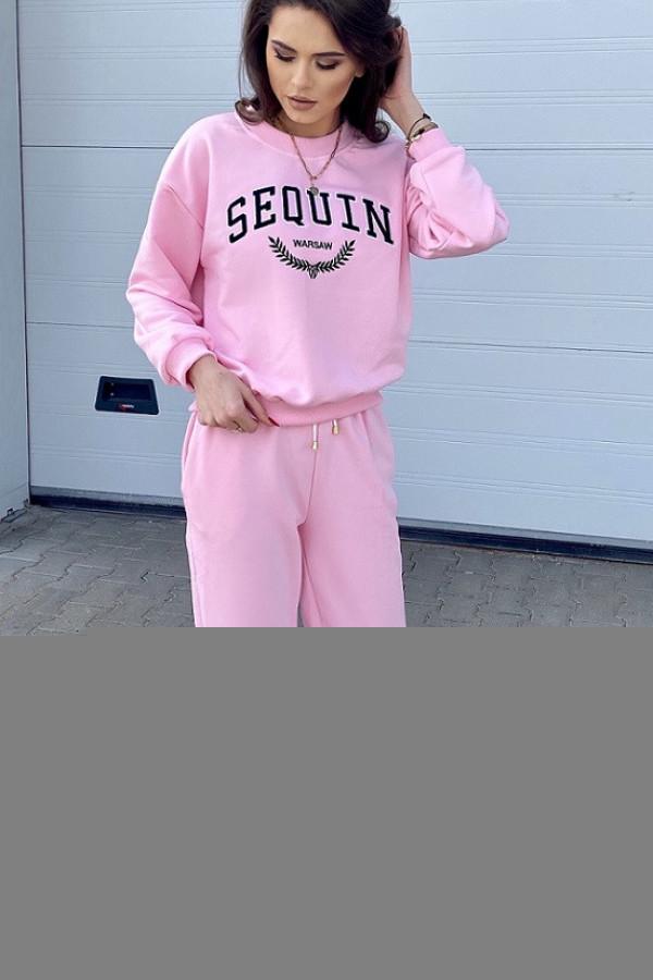 Różowe spodnie dresowe joggery z podwyższonym stanem Kelly