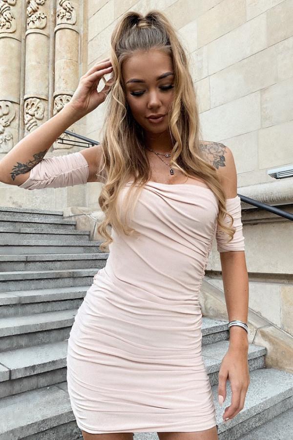 Beżowa dopasowana marszczona sukienka mini Harper