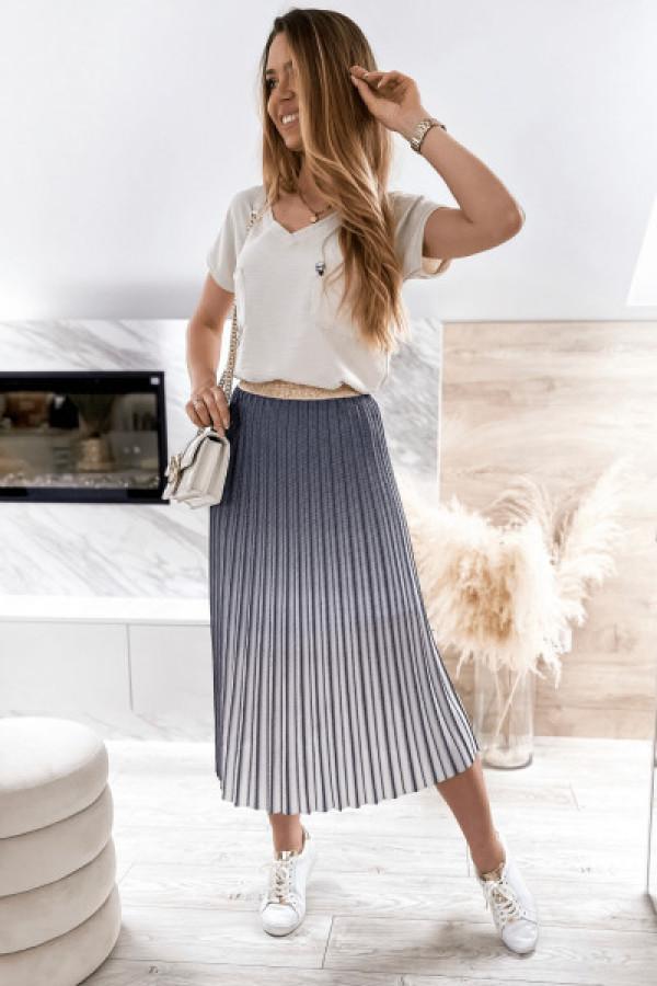 Granatowa spódnica ombre plisowana midi Hailey