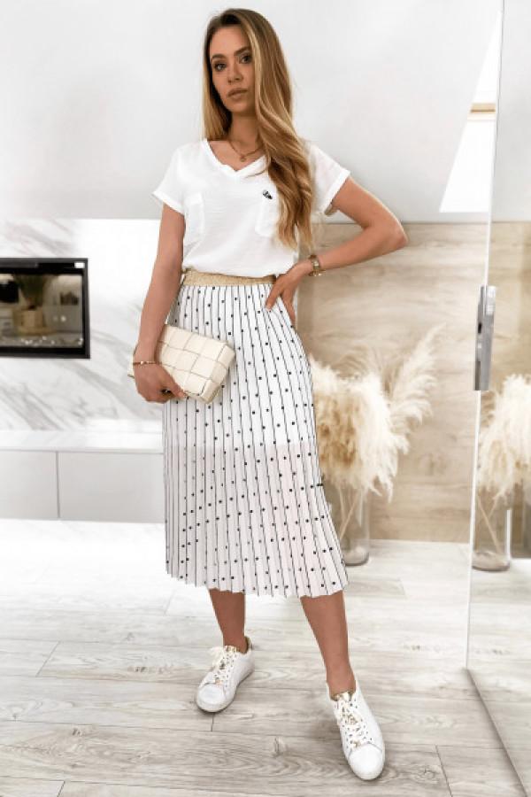 Biała spódnica plisowana midi w groszki Hailey