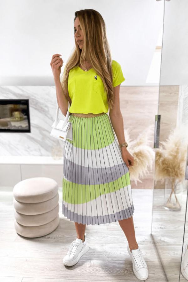 Zielono-biała spódnica plisowana midi Hailey