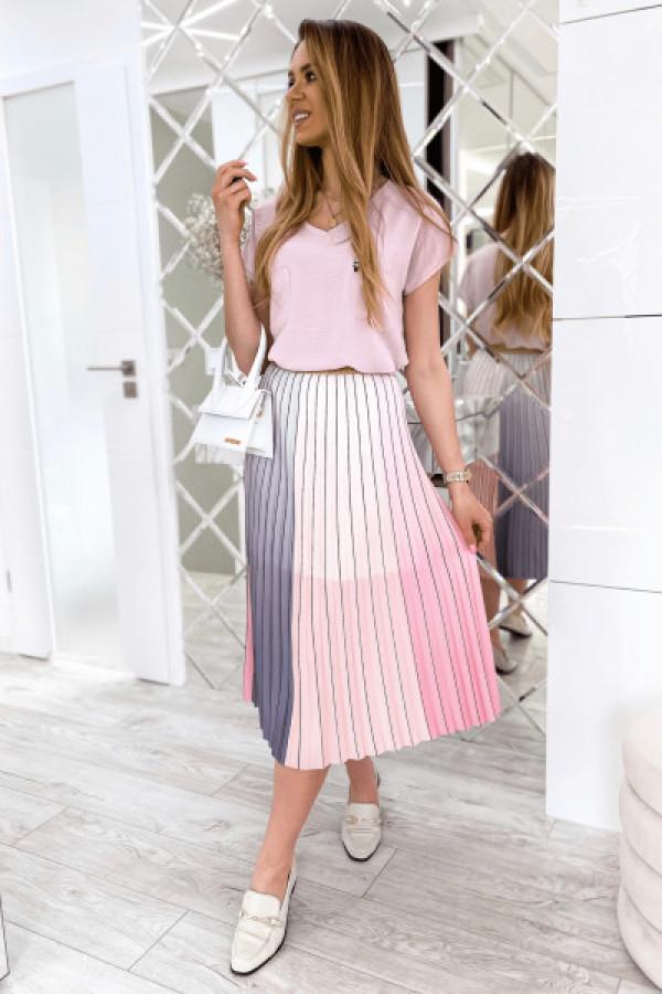 Różowo-szara spódnica ombre plisowana midi Hailey