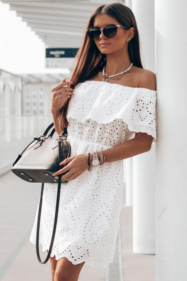 Biała ażurowa sukienka hiszpanka z falbanką Claire
