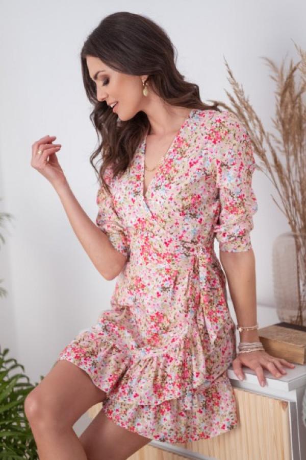 Różowa kwiatowa sukienka rozkloszowana z falbankami V-Neck Scarlett