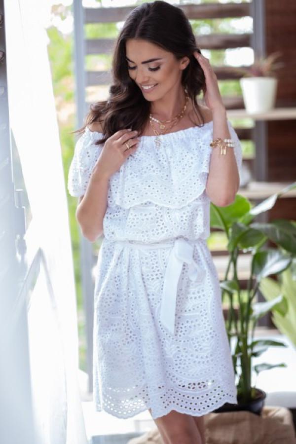 Biała ażurowa sukienka hiszpanka z falbankami Kaylee