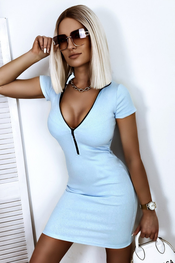 Jasnoniebieska dopasowana sukienka z zipem Sophia