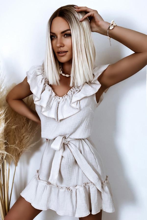 Beżowa rozkloszowana sukienka z falbankami hiszpanka boho Elena
