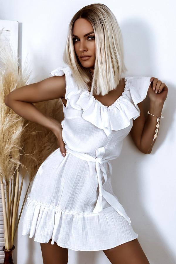 Biała rozkloszowana sukienka z falbankami hiszpanka boho Elena