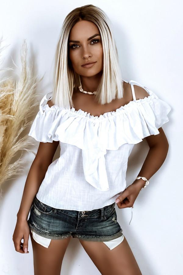 Biała bluzka z falbanką boho Aurora