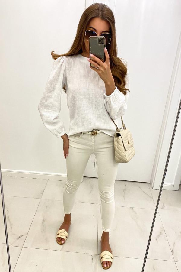 Biała muślinowa bluzka z wycięciem na plecach Camilla