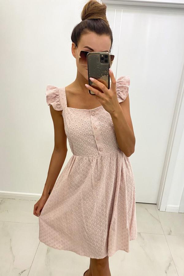 Jasnoróżowa haftowana sukienka rozkloszowana na ramiączkach Serenity