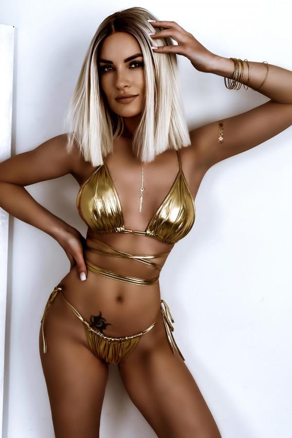 Złote błyszczące wiązane bikini Callie