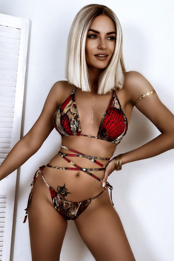 Czerwone wężowe wiązane bikini Callie