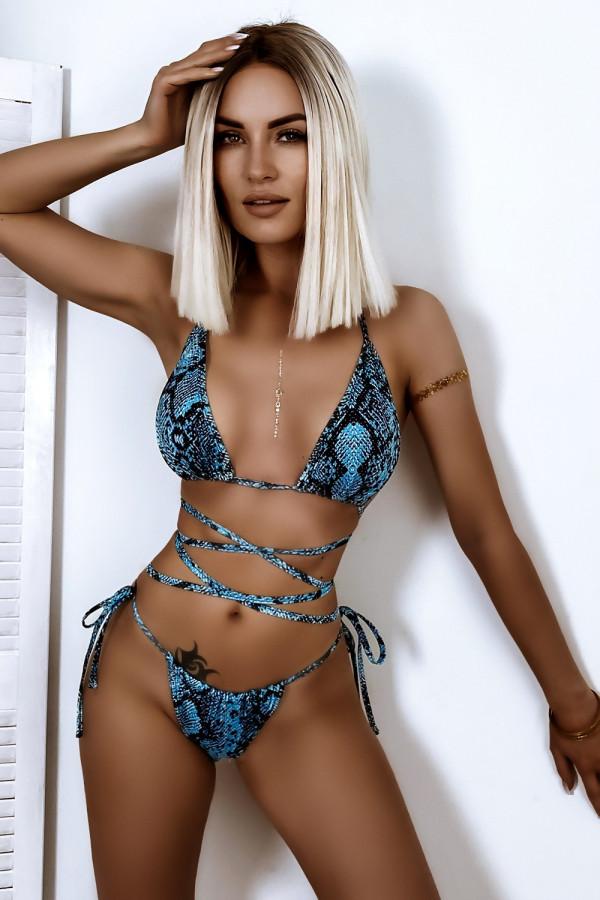 Jasnoniebieskie wężowe wiązane bikini Callie