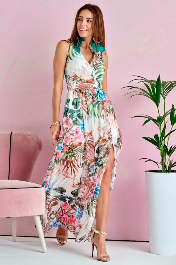 Biało-zielona kwiatowa sukienka V-Neck maxi Christelle