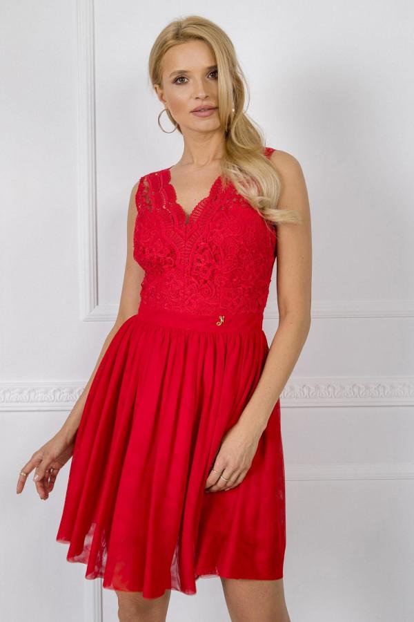 Czerwona sukienka koktajlowa z koronkowym gorsetem Clarissa