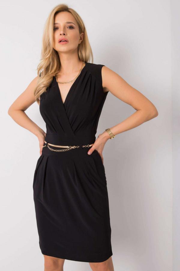 Czarna elegancka sukienka kopertowa z wycięciem na plecach Diana