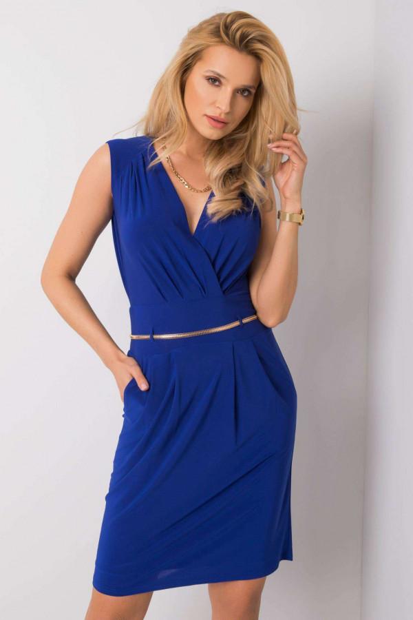 Kobaltowa elegancka sukienka kopertowa z wycięciem na plecach Diana
