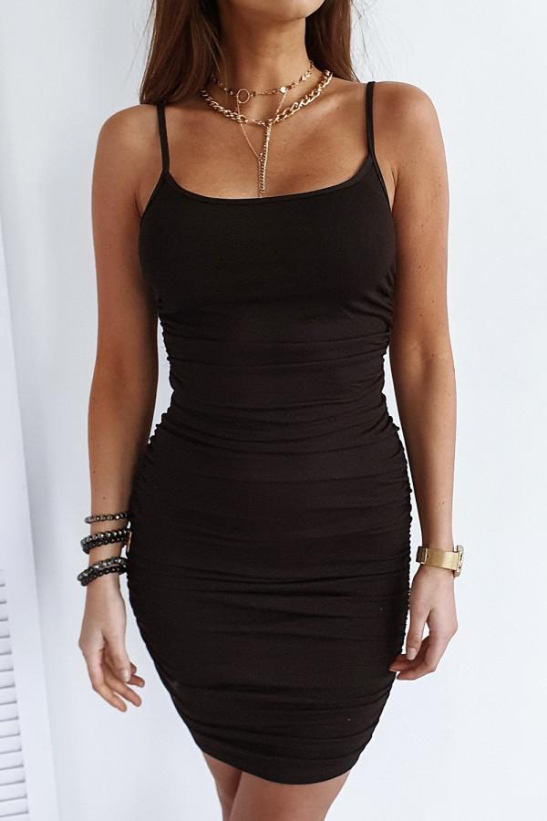 Czarna sukienka marszczona na ramiączkach Camelia