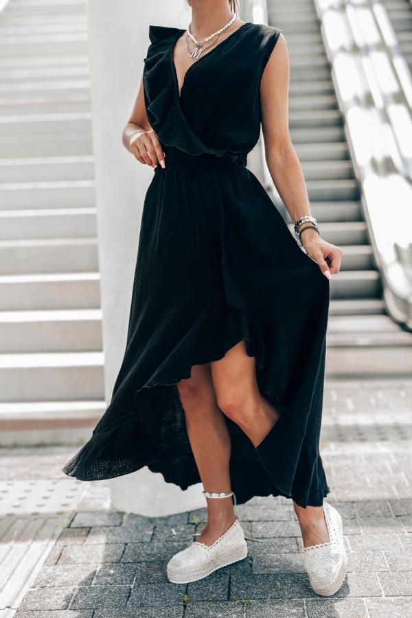 Czarna muślinowa asymetryczna sukienka z falbankami midi Aria