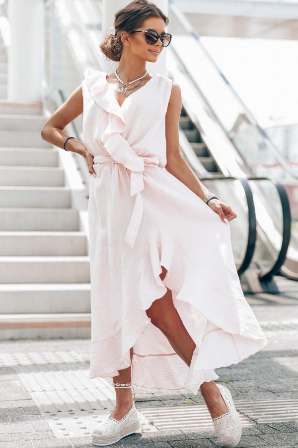 Jasnoróżowa muślinowa asymetryczna sukienka z falbankami midi Aria