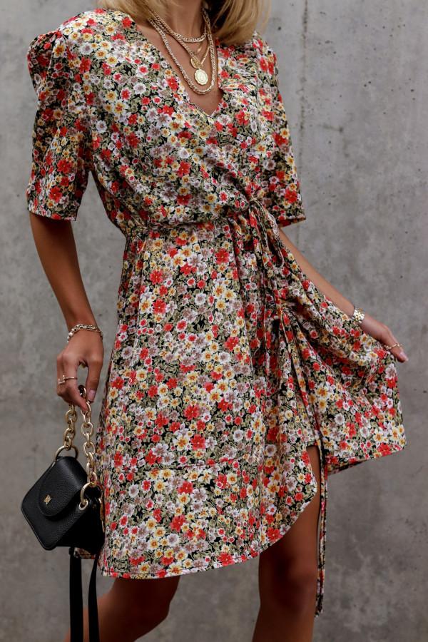 Kolorowa kwiatowa sukienka kopertowa V-Neck Aster