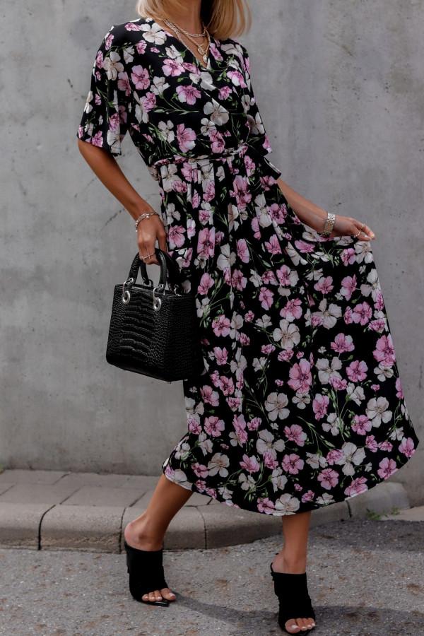 Czarna sukienka kwiatowa midi Martina