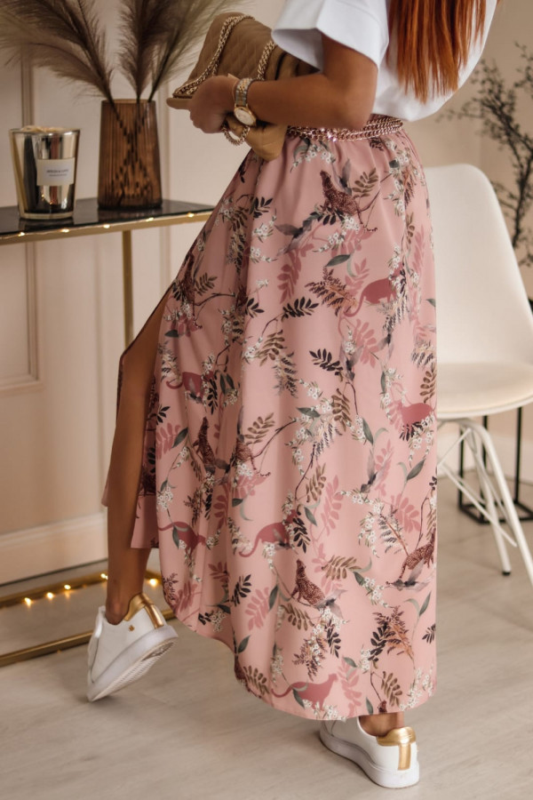 Różowa spódniczka z rozcięciem midi w kwiaty Sammy