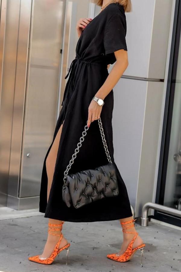 Czarna muślinowa sukienka przekładana maxi Gabrielle