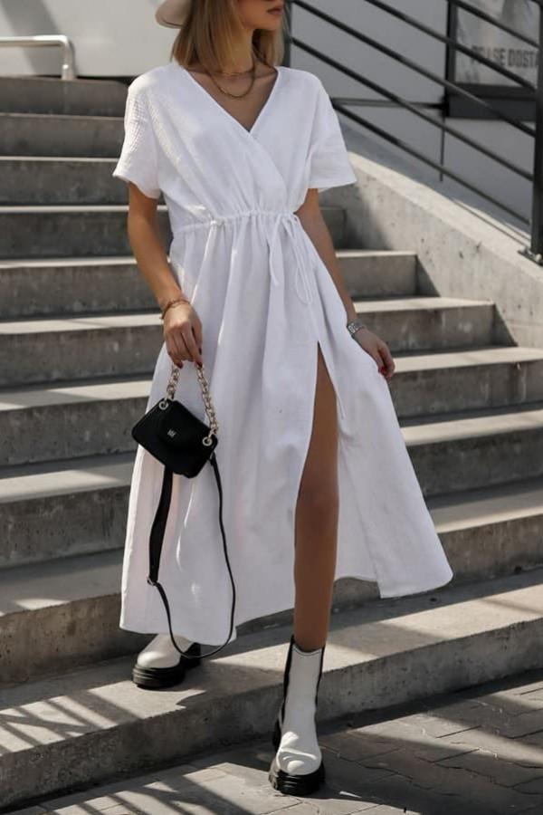 Biała muślinowa sukienka przekładana maxi Gabrielle