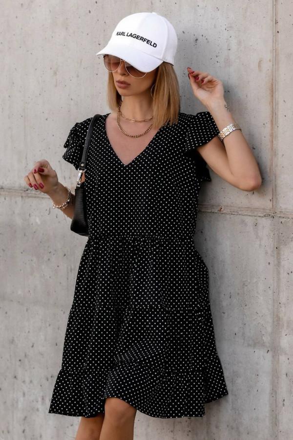 Czarna rozkloszowana sukienka z falbankami V-Neck w groszki Lucille