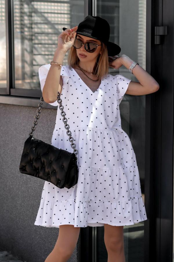 Biała rozkloszowana sukienka z falbankami V-Neck w groszki Lucille