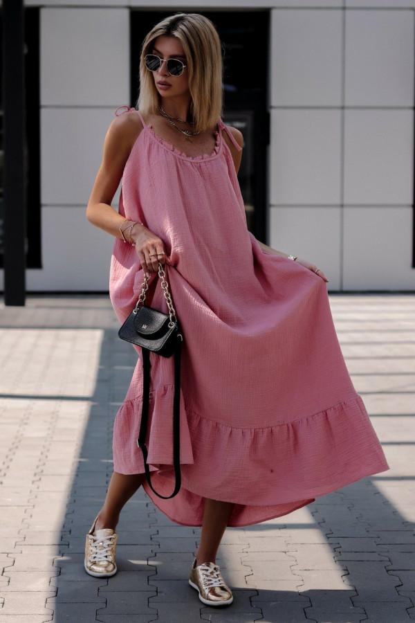 Różowa rozkloszowana sukienka na ramiączkach maxi Anny