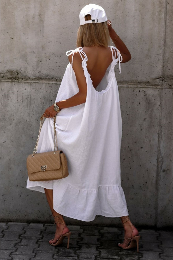 Biała rozkloszowana sukienka na ramiączkach maxi Anny