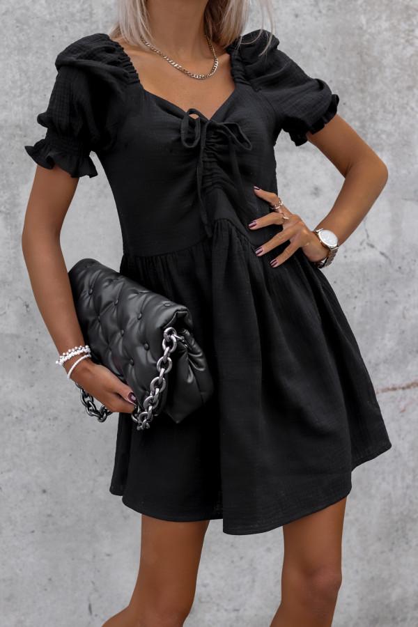 Czarna muślinowa sukienka rozkloszowana mini Shira