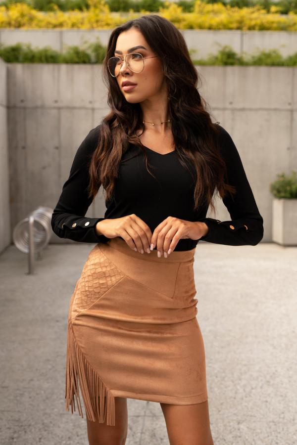 Czarna bluzka V-Neck z napami Leah