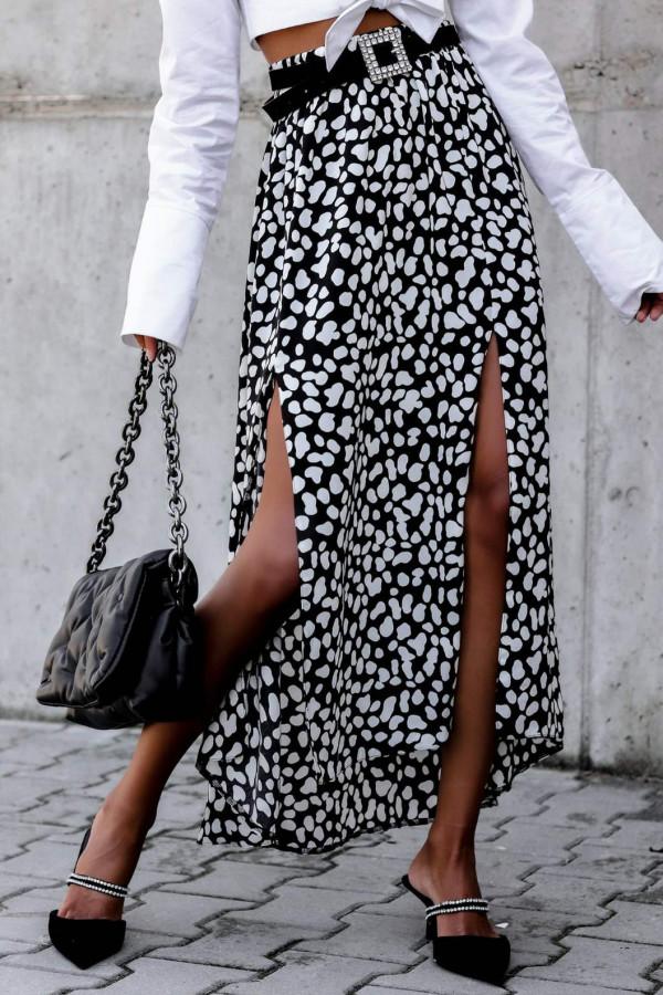 Czarna spódnica z rozcięciem midi w plamki Sammy